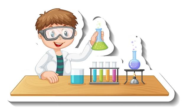 Aufklebervorlage mit zeichentrickfigur eines studenten, der chemische experimente durchführt
