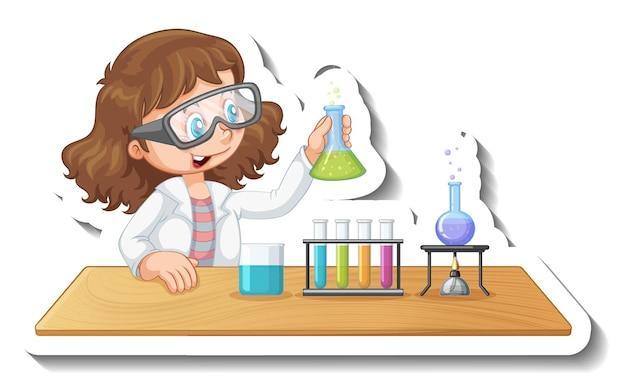 Aufklebervorlage mit zeichentrickfigur eines studenten, der ein chemisches experiment durchführt