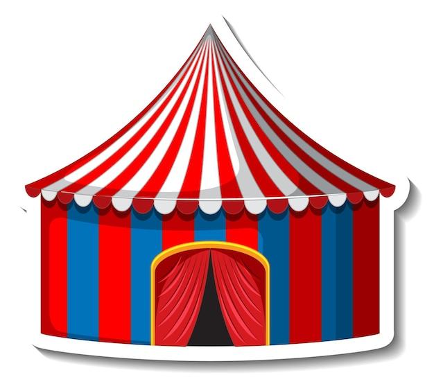 Aufklebervorlage mit zirkuszelt isoliert