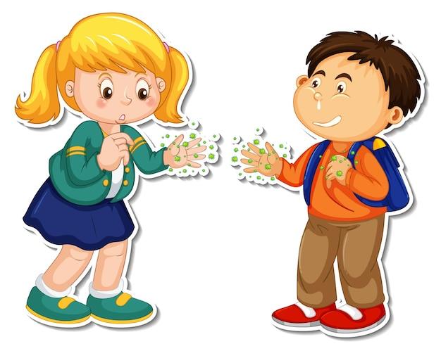 Aufklebervorlage von zwei personen beim händeschütteln mit bakterien und viren
