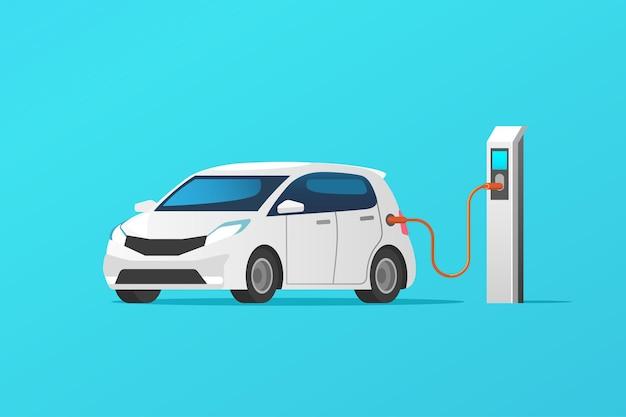 Aufladen der elektroautos an der ladestation.