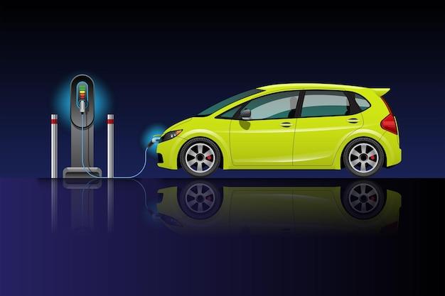 Aufladen des elektroautos an der ladestation. ev fahrzeug. isoliert auf blau-schwarzem hintergrund.