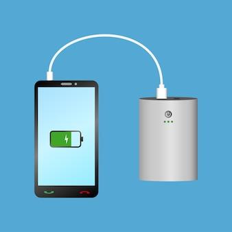 Aufladen des smartphones mit power bank über usb-kabel tragbares ladegerät und telefon