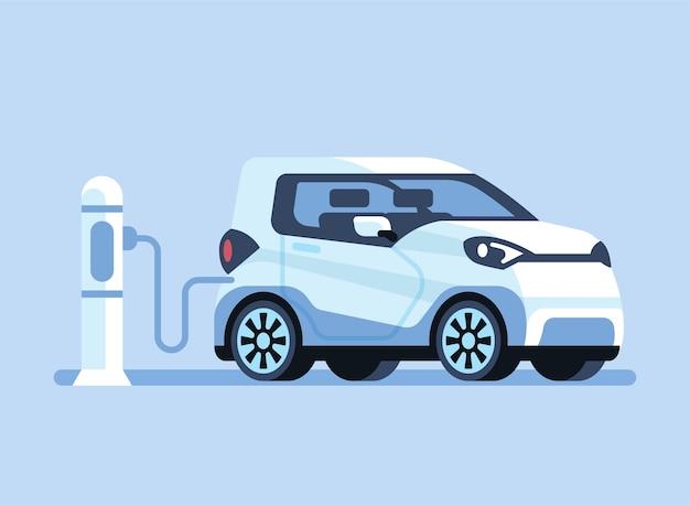 Aufladen eines elektroautos in einem kraftwerk.