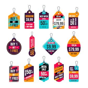 Auflistung der hängenden tags. preisschilder design. etiketten und verkaufsetiketten für einkaufsaktionen