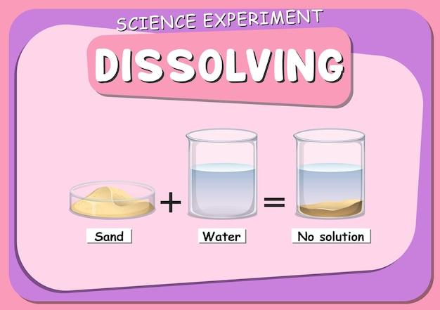 Auflösendes wissenschaftliches experiment mit sand in wasser