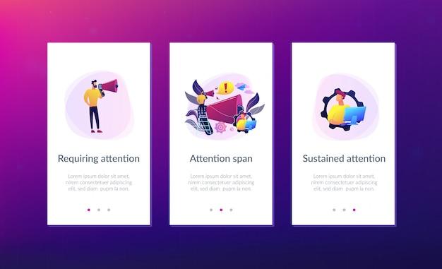 Aufmerksamkeits-app-interface-vorlage