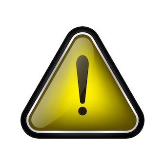 Aufmerksamkeitszeichen des glasdreiecks 3d lokalisiert auf weiß