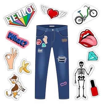 Aufnäher auf blue jeans.
