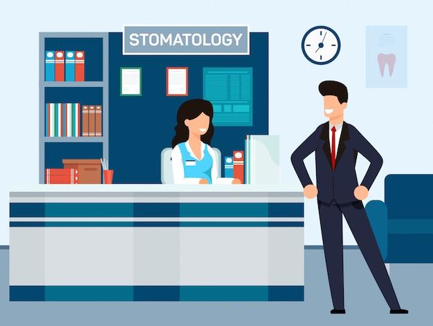 Aufnahme an der zahnmedizinischen klinik-vektor-illustration.