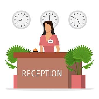 Aufnahme eines hotels mit frauempfangsdame. halle mit rezeptionistin am schreibtisch. junger bankangestellter.