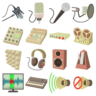 Aufnahmestudio-symbolikonen eingestellt