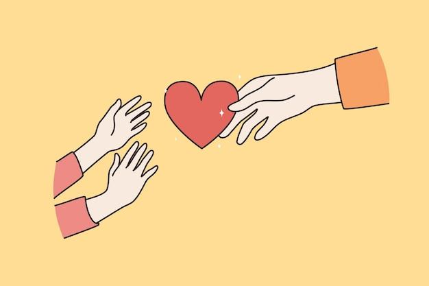 Aufpassen und eltern-kind-liebeskonzept. hände einer erwachsenen person, die kindlichen händen rotes herz gibt, die nach ihr über gelbe hintergrundvektorillustration greifen
