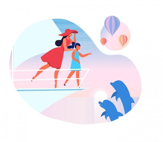 Aufpassende delphin-vektor-illustration der mutter und des kindes