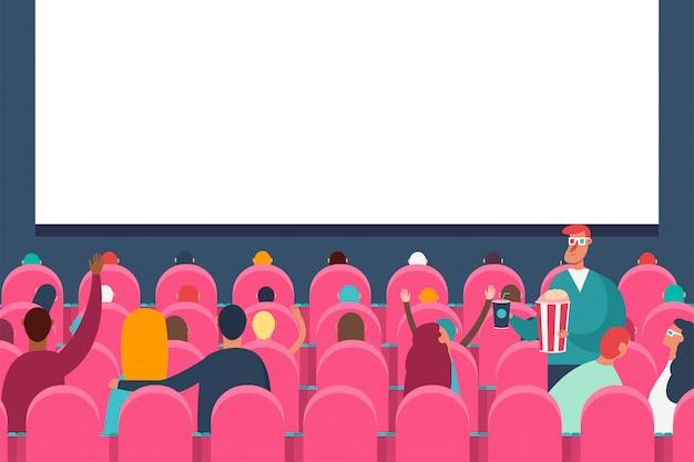 Aufpassender film des leutepublikums im kinotheater. flache karikaturillustration des vektors.
