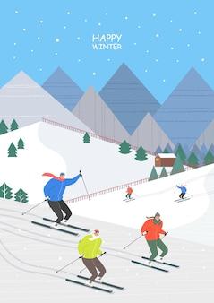 Aufregende und schöne winterreiseillustration