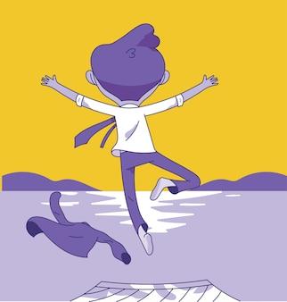 Aufregender junger geschäftsmann springt in den see, junger mann springen vom hölzernen pier