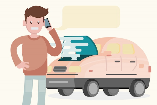 Aufschlüsselung des autos auf der straße