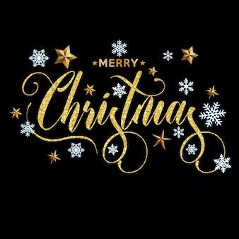 Aufschrift der frohen weihnachten verziert mit goldsternen