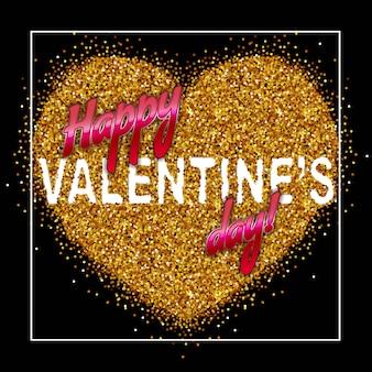 Aufschrift-glücklicher valentinstag auf dem gold funkelt herz