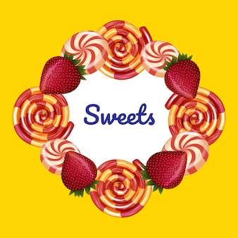 Aufschrift in der mitte um süßigkeit auf gelb