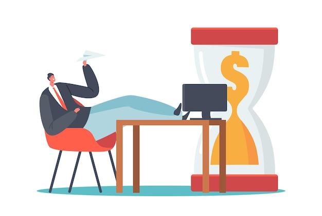 Aufschub im geschäft, geldverschwendung-konzept. geschäftsmann charakter sitzen mit beinen auf schreibtisch halten papierflugzeug in der nähe von riesiger sanduhr mit dollar im inneren. zeiteinteilung. cartoon-vektor-illustration