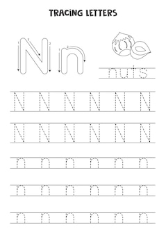 Aufspüren von buchstaben des englischen alphabets. arbeitsblatt schwarz-weiß.