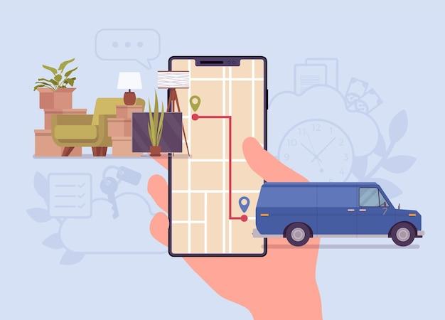 Auftragsverfolgungssystem auf dem smartphone-bildschirm. van-reise-versand-tracker zu einem kunden oder lager, warenabholung, lieferung und fulfillment-prozess-app-service. vektor-flache cartoon-illustration