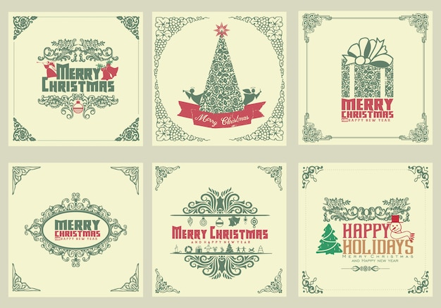 Aufwändige quadratische winterurlaubgrußkarten mit baum des neuen jahres, geschenkbox, weihnachtsverzierungen, strudelrahmen und typografischem