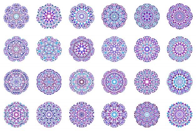 Aufwändiger bunter geometrischer blumenblatt-mandala-symbolsatz