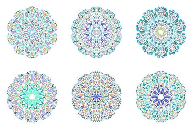 Aufwändiger geometrischer abstrakter blumenblatt-mandala-symbolsatz