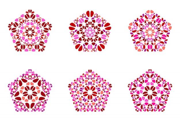 Aufwändiger geometrischer lokalisierter blumenverzierungspentagon-polygonsatz