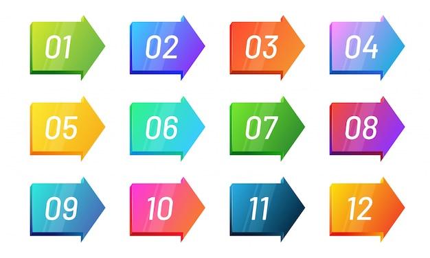 Aufzählungspunkt für pfeilrichtung nummer 1 bis 12. helle farbverlaufssymbolsammlung