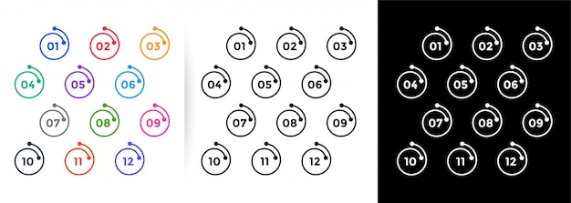 Aufzählungszeichen im spirallinienstil zeigen zahlen von eins bis zwölf