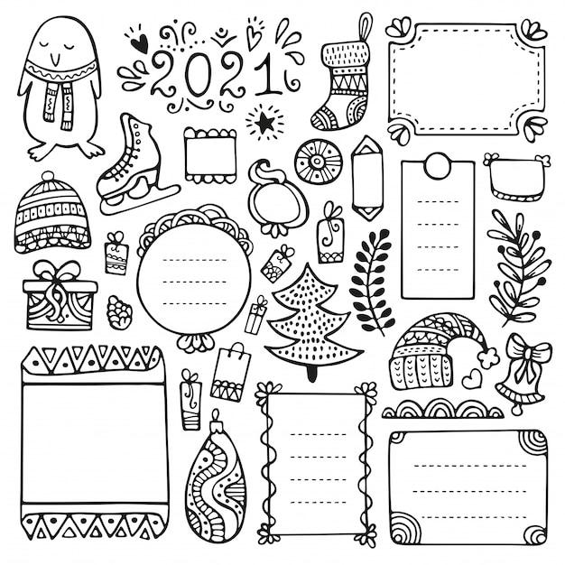 Aufzählungszeichen, weihnachts-, neujahrs- und winterhand gezeichnete vektorelemente für notizbuch