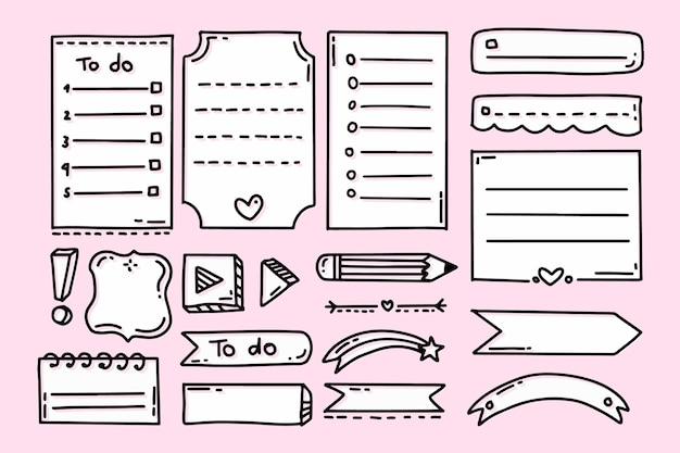 Aufzählungszeichenjournalelemente mit rosa hintergrund