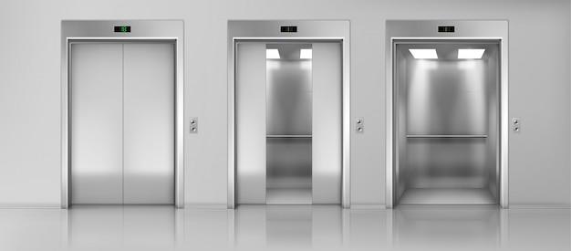 Aufzüge leeren kabinen auf realistischem vektor des bodens
