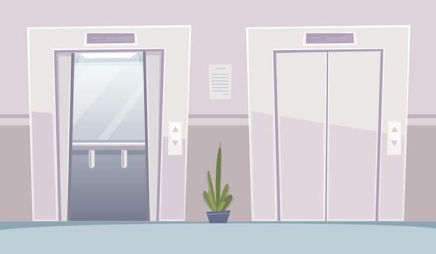 Aufzug in der geschäftshalle. bürogebäude mit geöffneten türen aufzügen vorraum innenvektorkarikaturhintergrund. illustrationsbüroinnenraum, lobbyaufzug innen