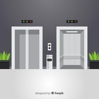 Aufzug mit offener und geschlossener tür im flachen design