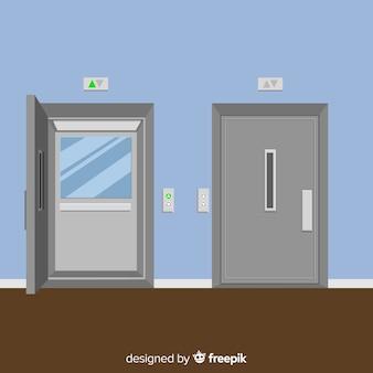 Aufzug mit offener und geschlossener tür in flacher art