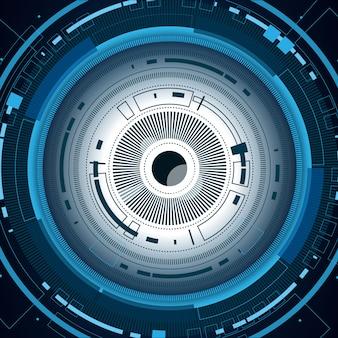 Augapfel cyber zukunftstechnologie, sicherheitskonzept hintergrund
