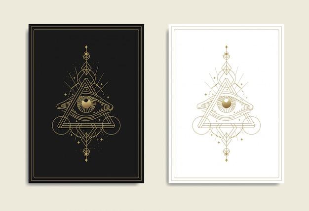 Auge der vorsehung mit unmöglichem dreieck, penrose-dreieck, heilige geometrie. freimaurer, alles sehende auge, neue weltordnung, religion, spiritualität, okkultismus, tätowierung, tarot. isolierter vektor.