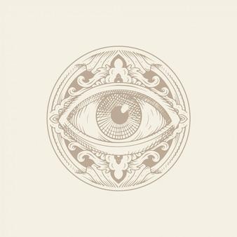 Auge der vorsehung mit verzierung. gravur, handzeichnung oder tattoo-stil. freimaurersymbol. alle sehenden augen. die neue weltordnung. heilige geometrie, religion, spiritualität, okkultismus.