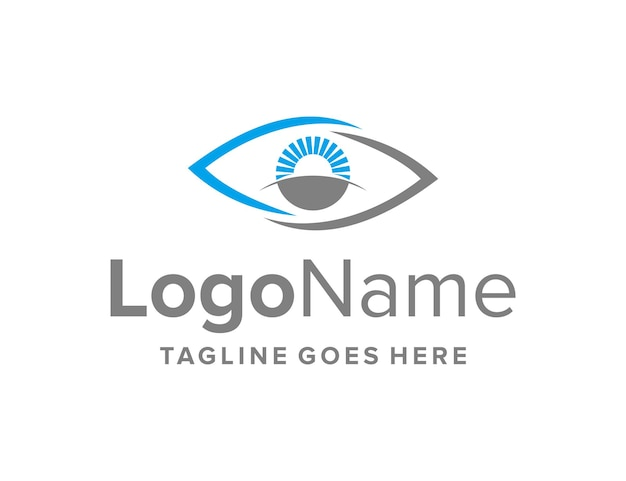 Augen mit horizont und sonne einfaches schlankes kreatives geometrisches modernes logo-design