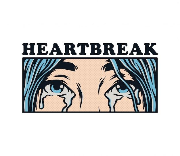 Augen vergießen tränen von traurigem gebrochenem herzen alleinstehendem mädchen, das weint