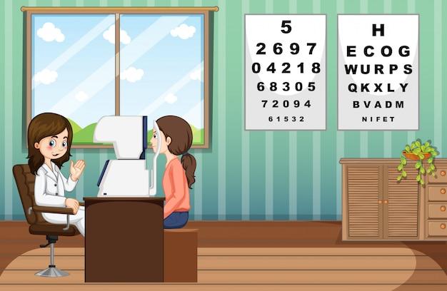 Augenarzt, der den patienten in der klinik behandelt