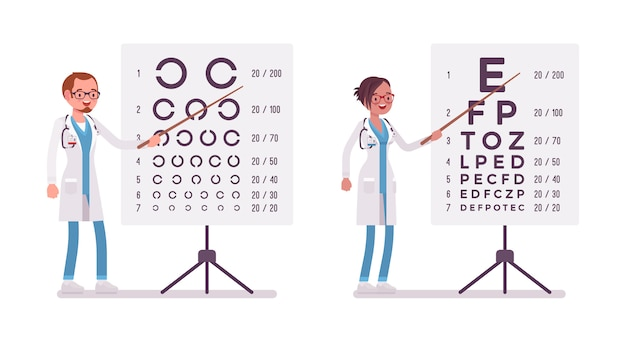Augenarzt und augenarzt. menschen in der krankenhausuniform, die nahe augentestkarte stehen. medizin- und gesundheitskonzept. stilkarikaturillustration auf weißem hintergrund