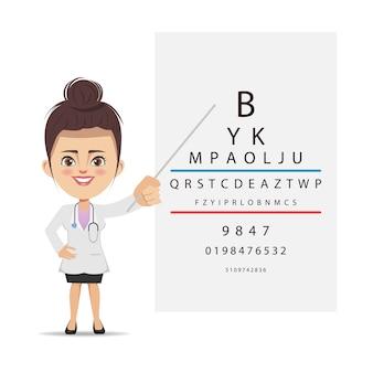 Augenarzt untersucht ihre augen