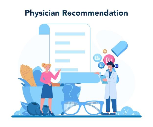 Augenarztkonzept. idee einer augenuntersuchung und -behandlung. sehkraftdiagnose und laserkorrektur.