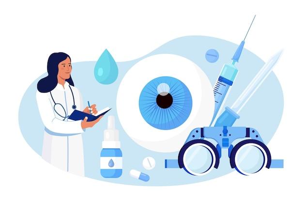 Augenheilkunde medizin und optische sehprüfung. idee der augenpflege und des sehens. augenarzt arzt testet myopie. patientensichtkorrektur, behandlung mit tablettentropfen und brille